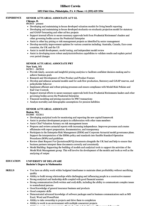 senior actuarial associate resume samples