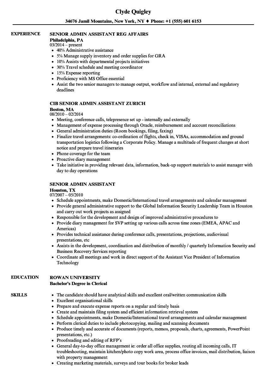 senior admin assistant resume samples