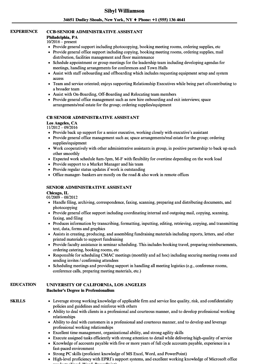 senior administrative assistant resume samples velvet jobs