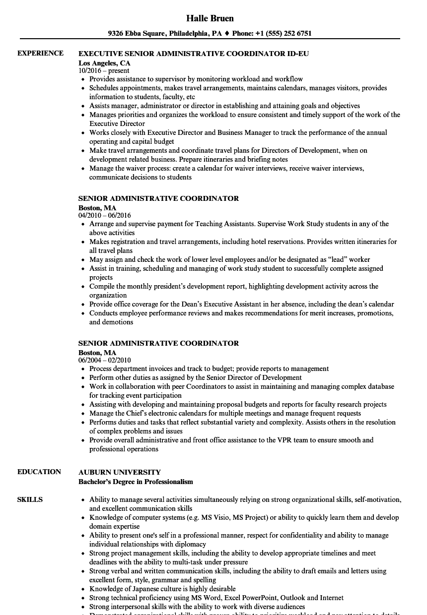 senior administrative coordinator resume samples