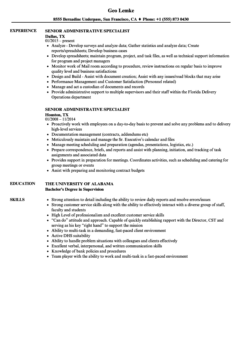 Senior Administrative Specialist Resume Samples Velvet Jobs