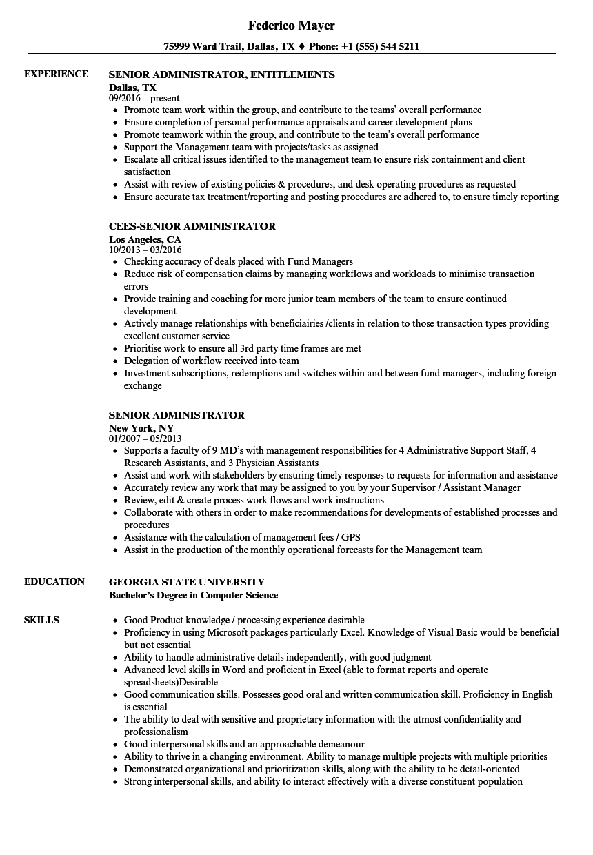 Senior Administrator Resume Samples | Velvet Jobs