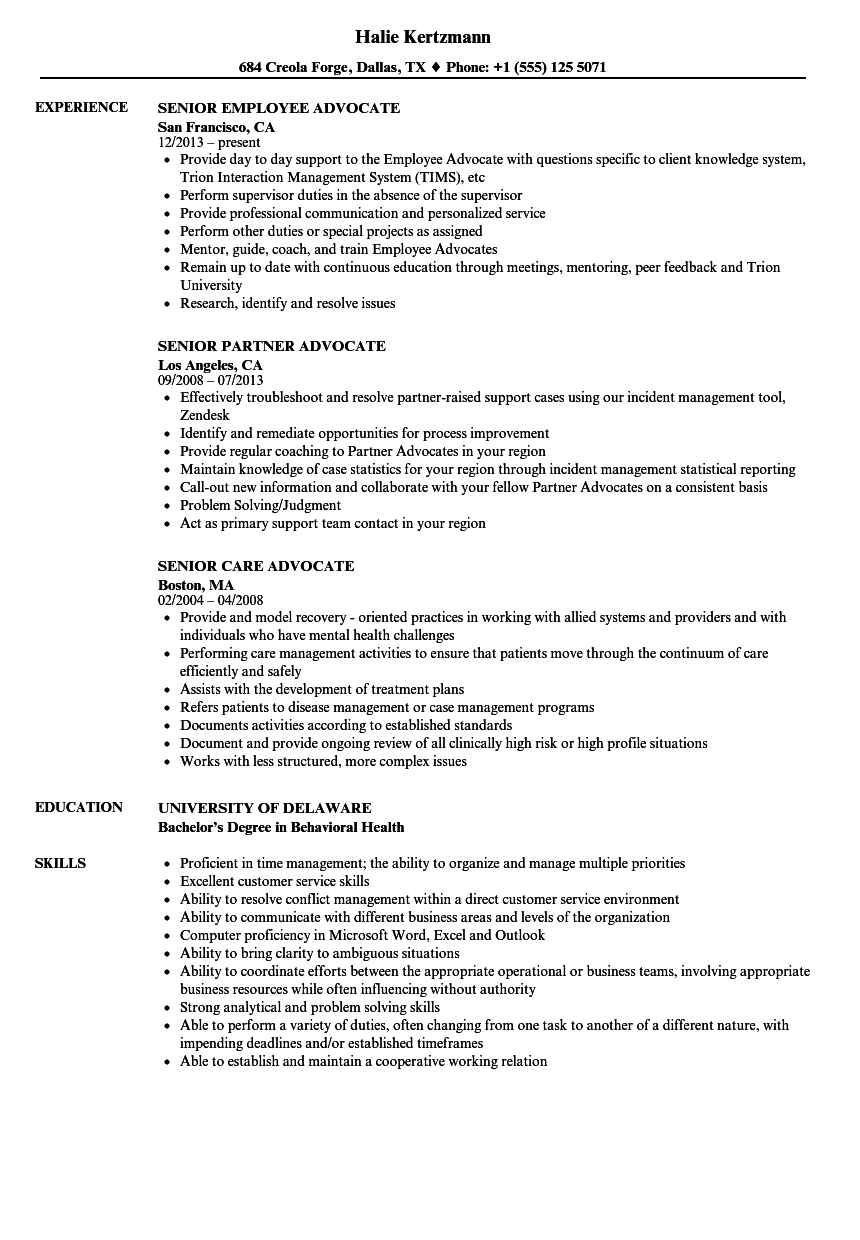 Senior Advocate Resume Samples