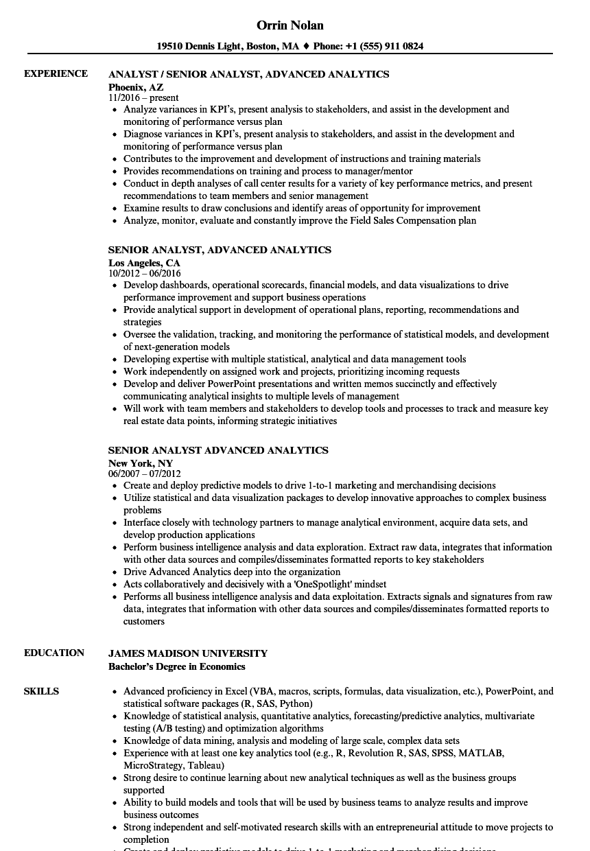senior analyst  advanced analytics resume samples