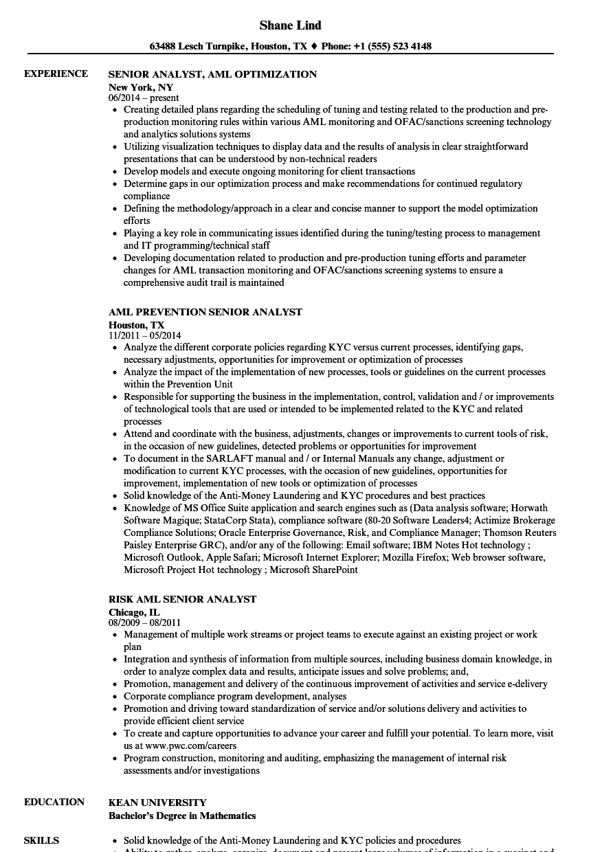 Senior Analyst Aml Resume Samples Velvet Jobs