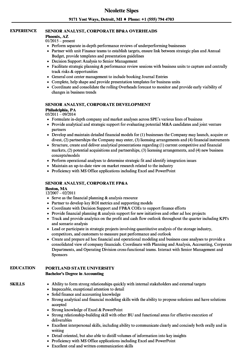 Senior Analyst Corporate Resume Samples | Velvet Jobs