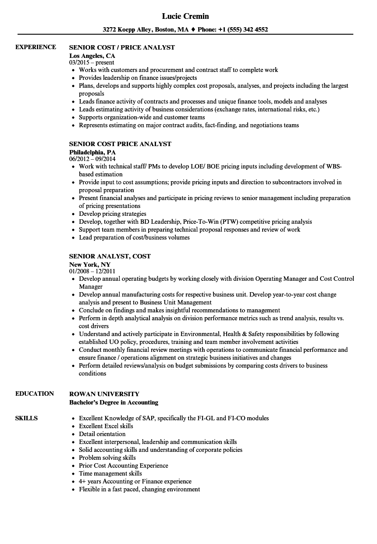 senior analyst  cost resume samples
