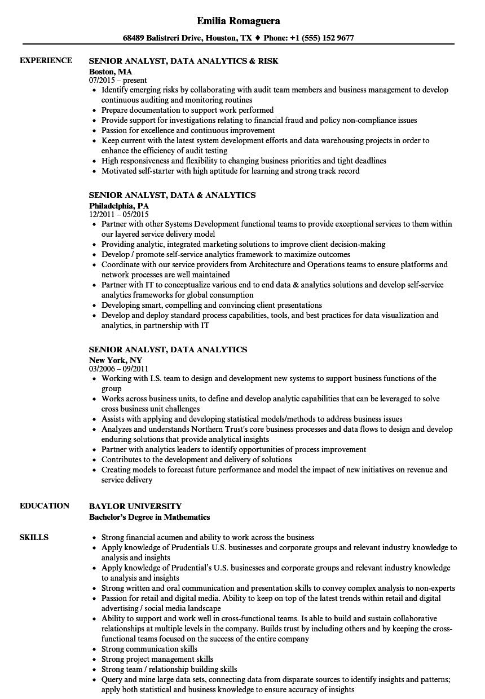 senior analyst  data analytics resume samples