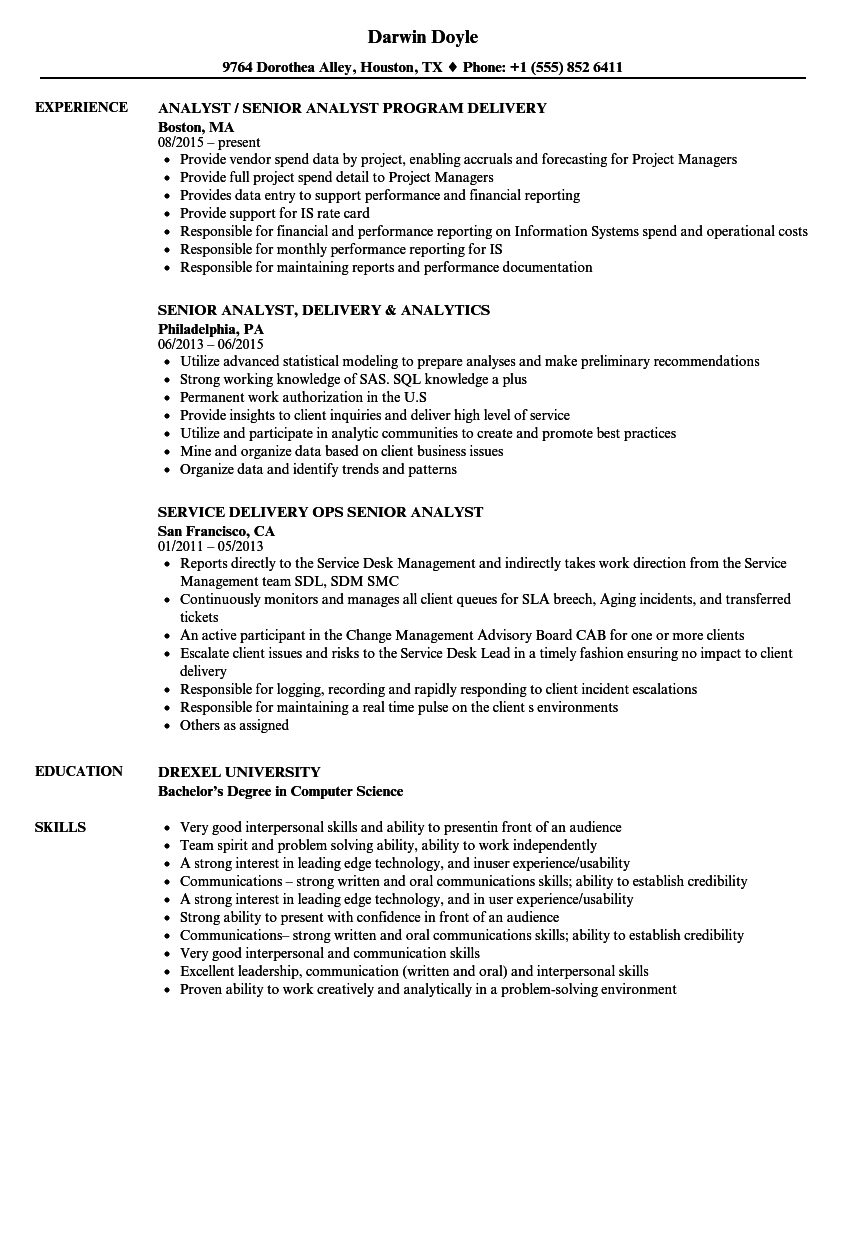 senior analyst  delivery resume samples