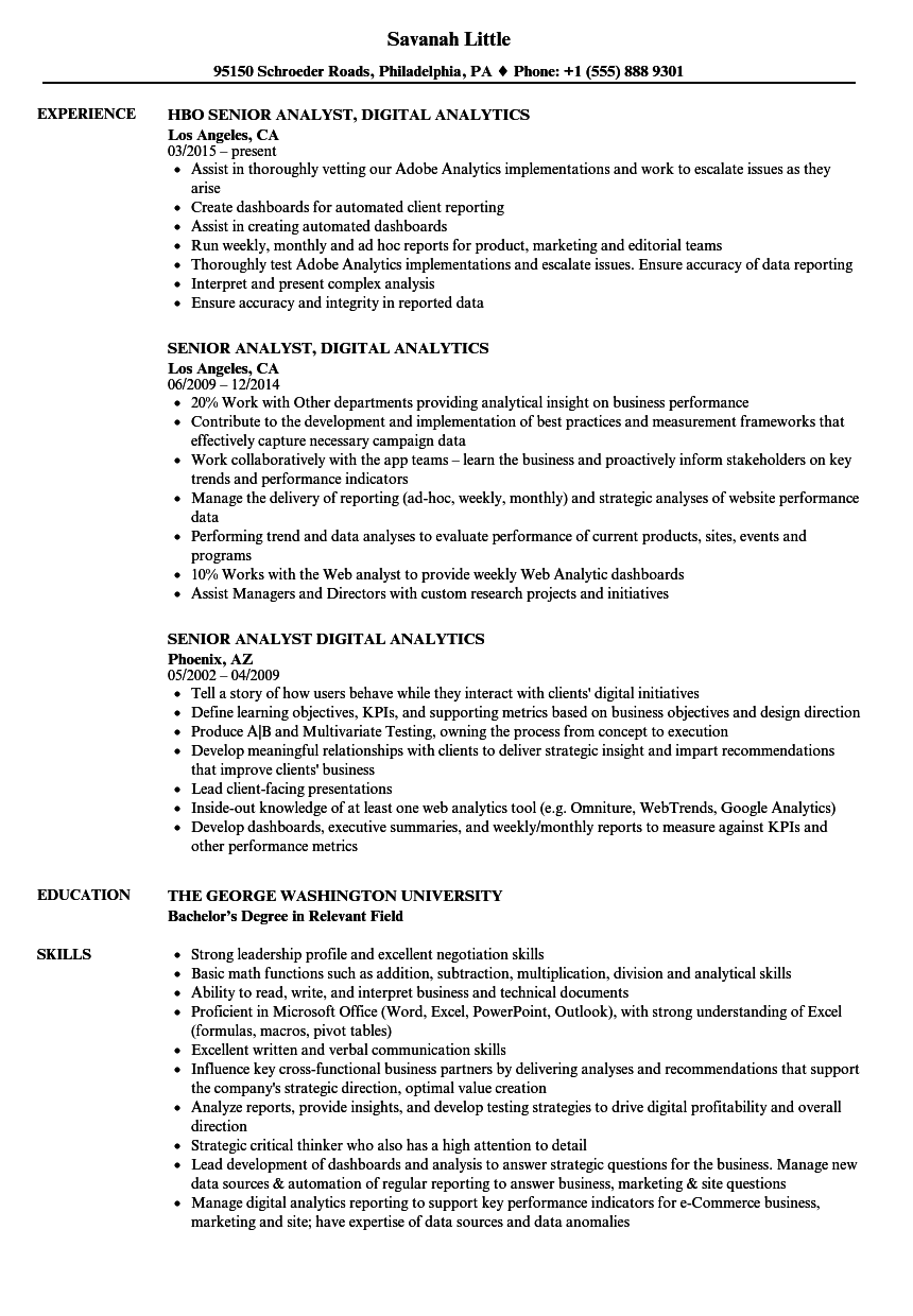 senior analyst  digital analytics resume samples