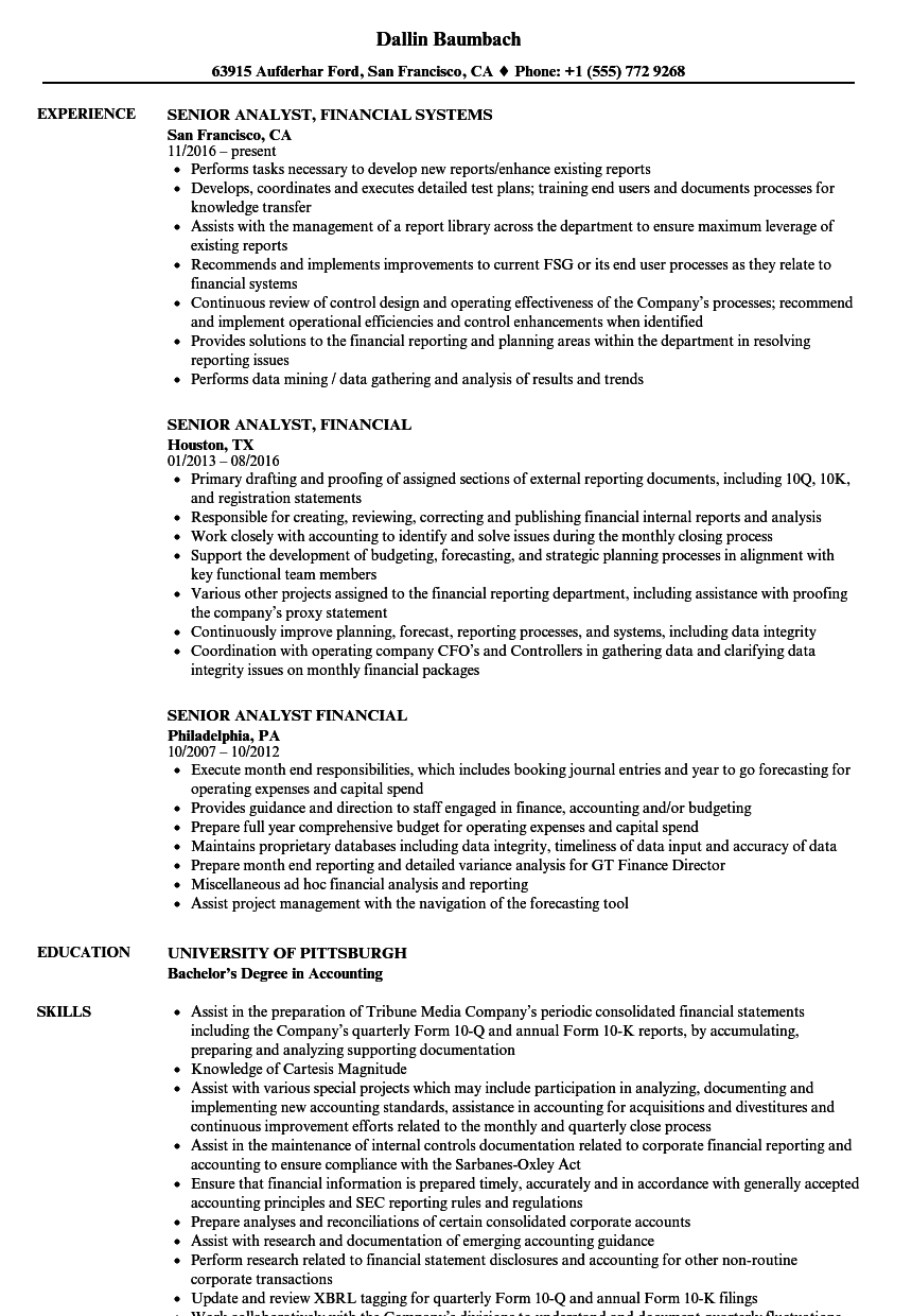 senior analyst  financial resume samples