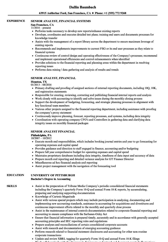 Senior Analyst, Financial Resume Samples | Velvet Jobs