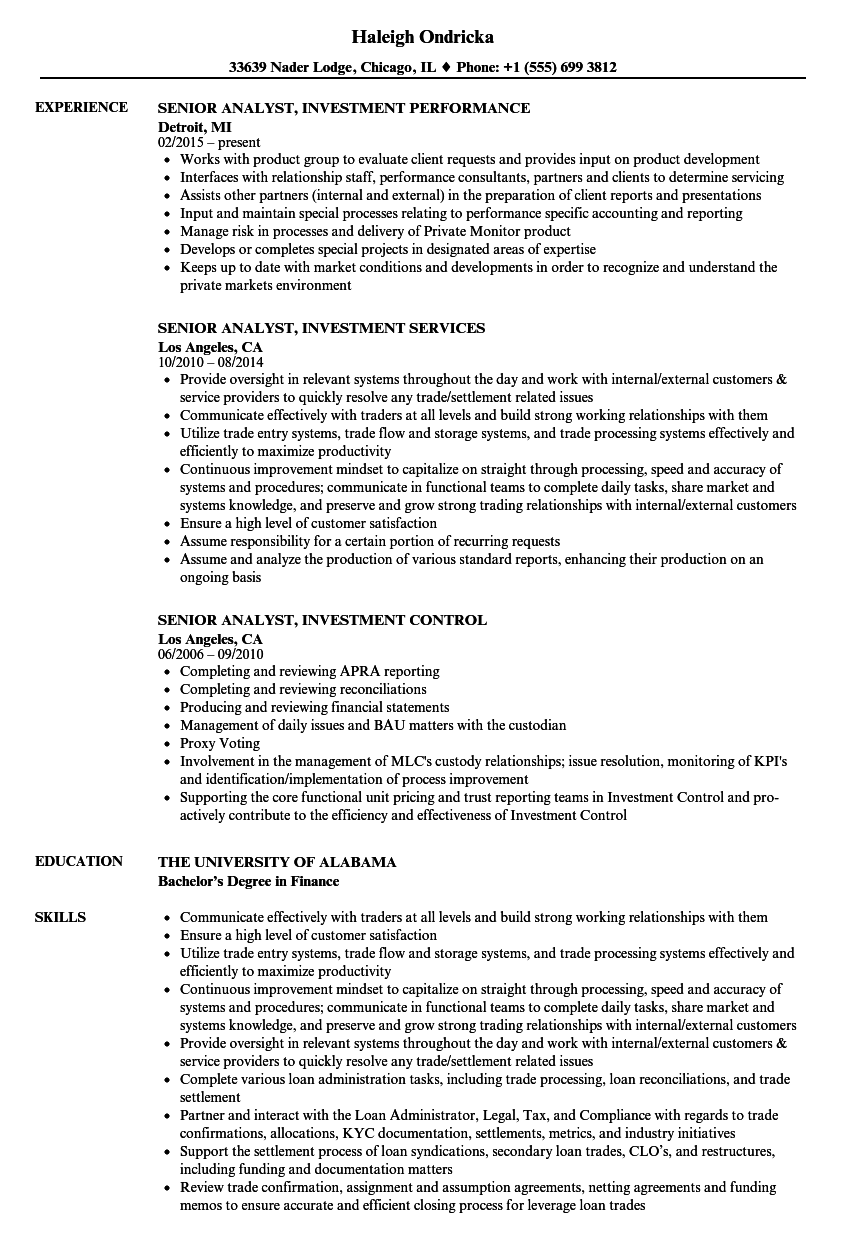 Business Analyst Fixed Income Experience Sample Resume