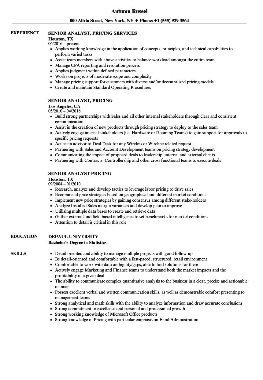senior analyst  pricing resume samples