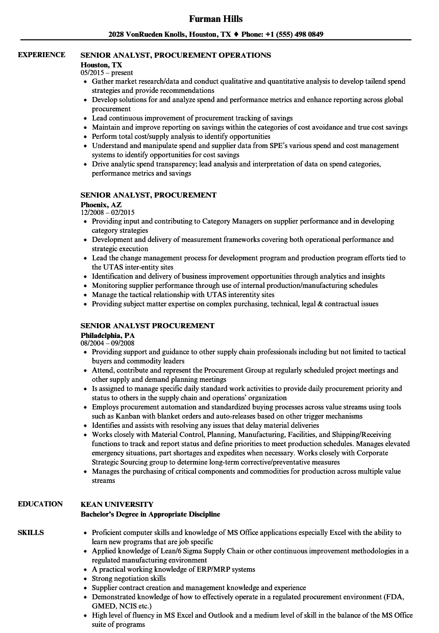 senior analyst  procurement resume samples