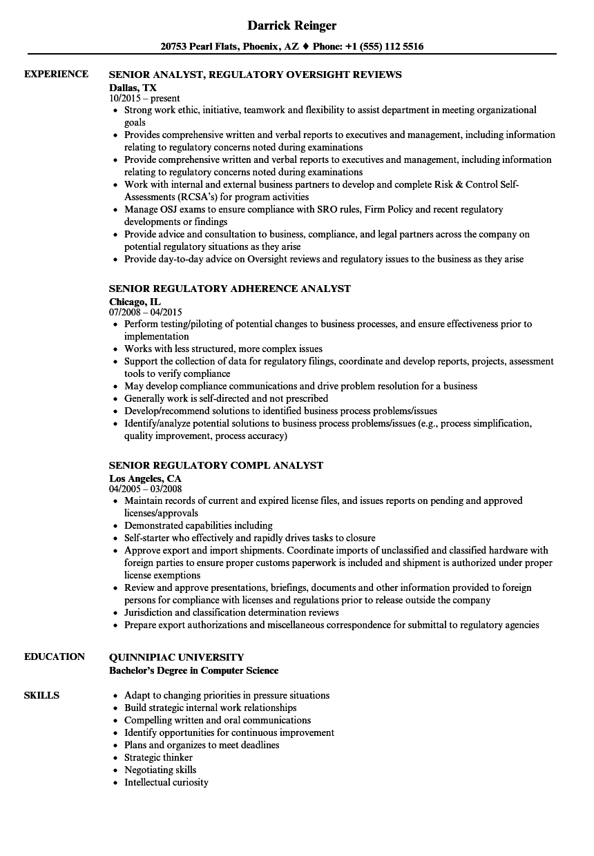 senior analyst regulatory resume samples