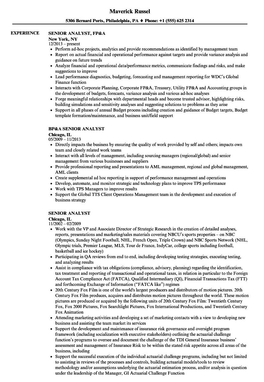 Senior Analyst Resume Samples | Velvet Jobs