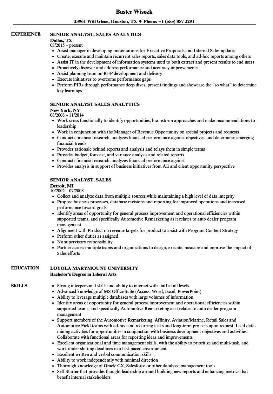 senior analyst  sales resume samples