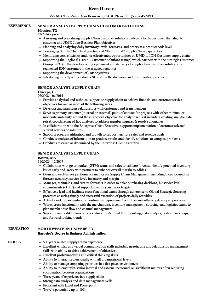 senior analyst  supply chain resume samples