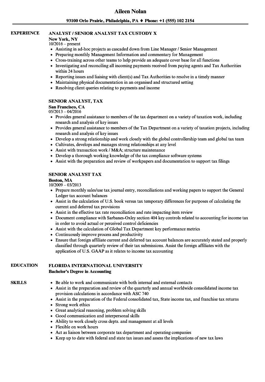 senior analyst  tax resume samples