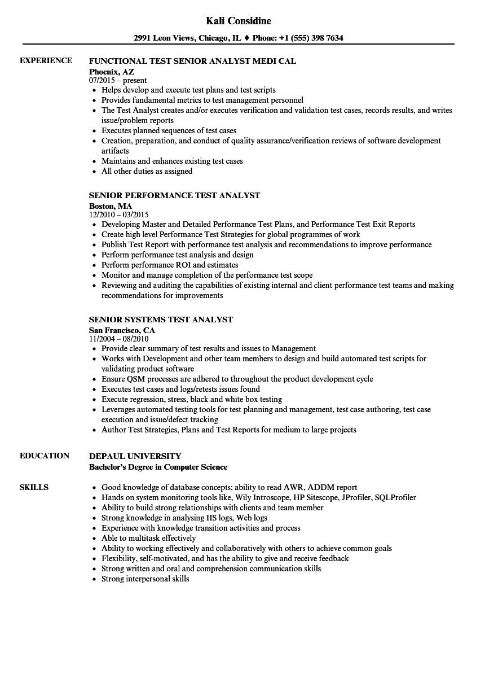 senior analyst  test resume samples