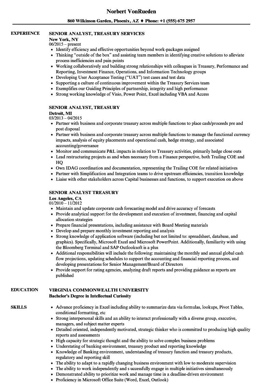 senior analyst  treasury resume samples