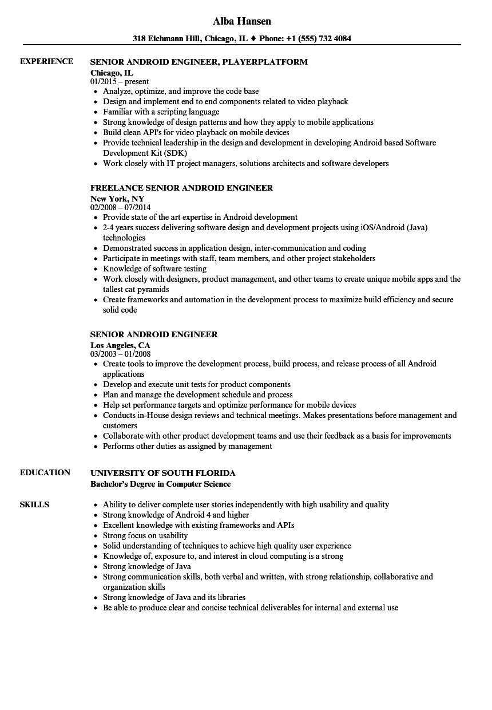 senior android engineer resume samples