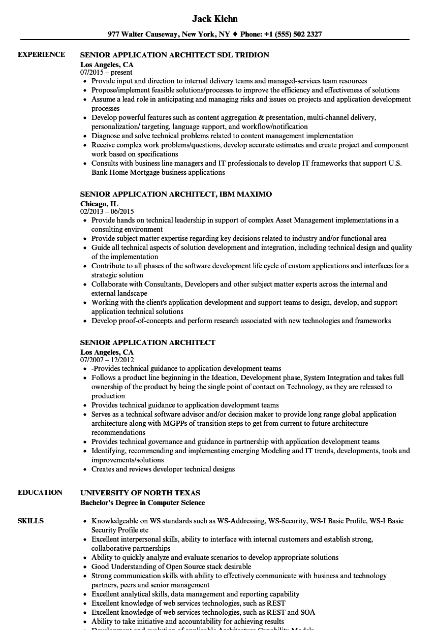 senior application architect resume samples