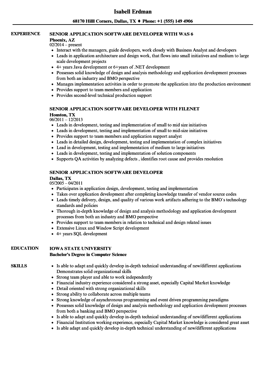 Senior Application Software Developer Resume Samples Velvet Jobs