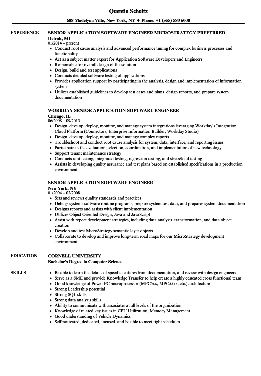 download senior application software engineer resume sample as image file