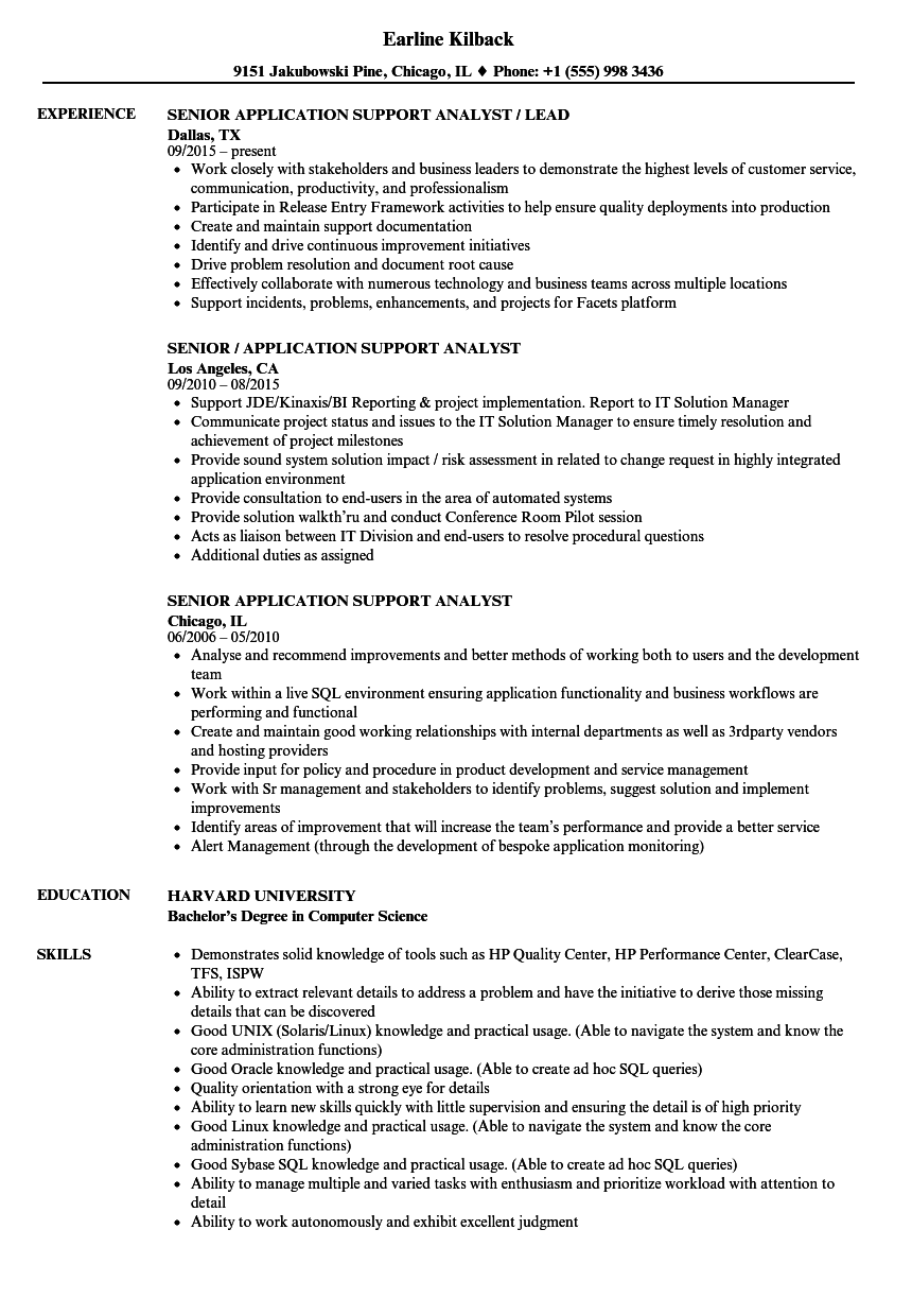Senior Application Support Analyst Resume Samples | Velvet Jobs