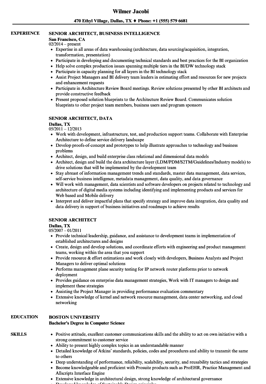 senior architect resume samples