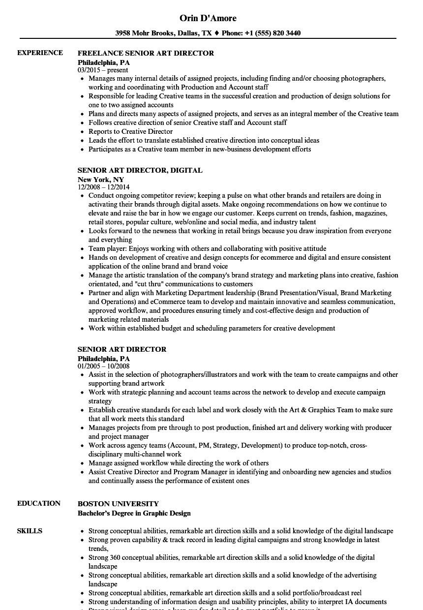 senior art director resume samples velvet jobs