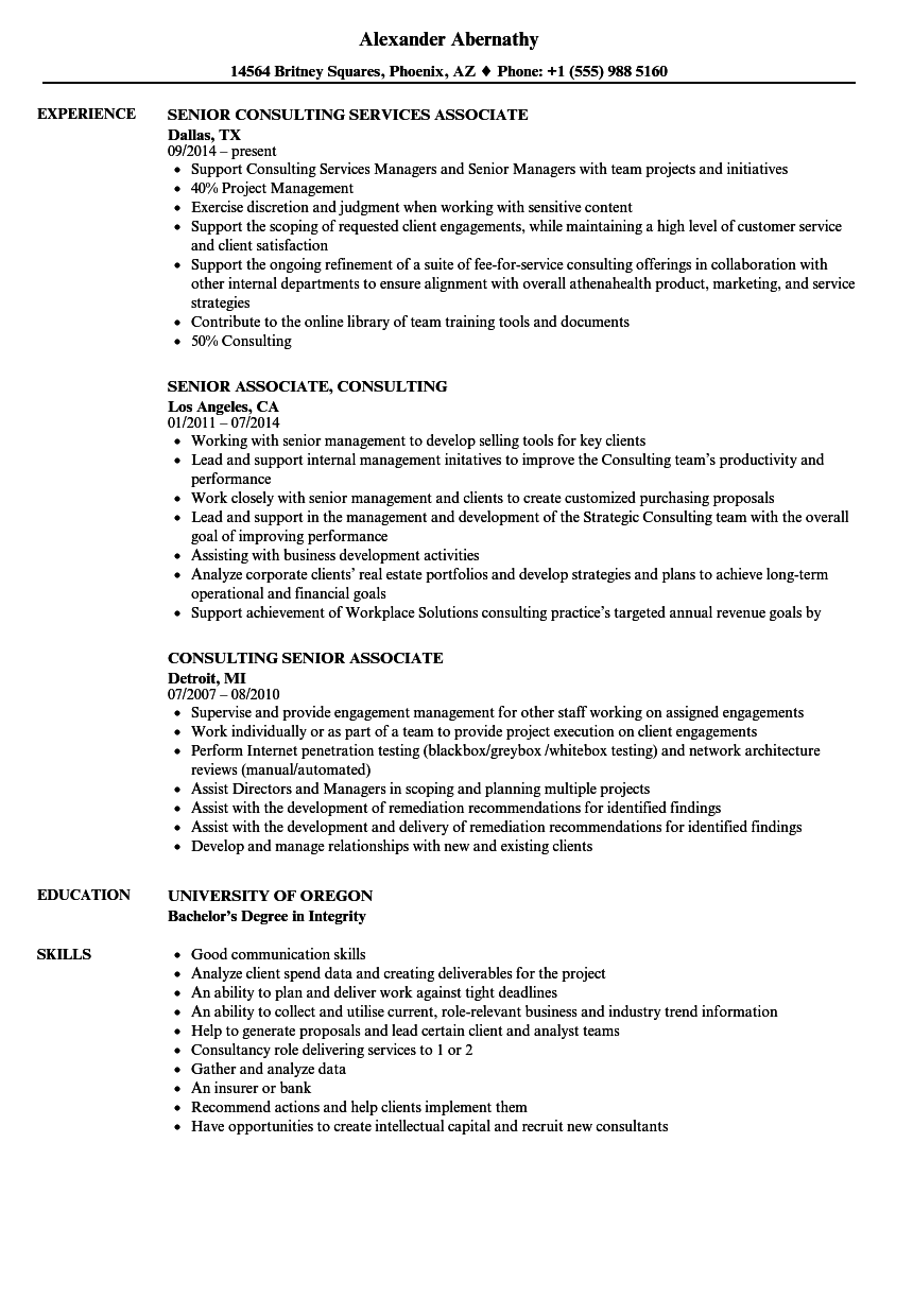 senior associate  consulting resume samples