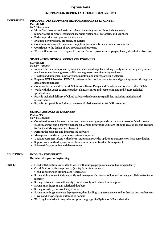 senior associate engineer resume samples