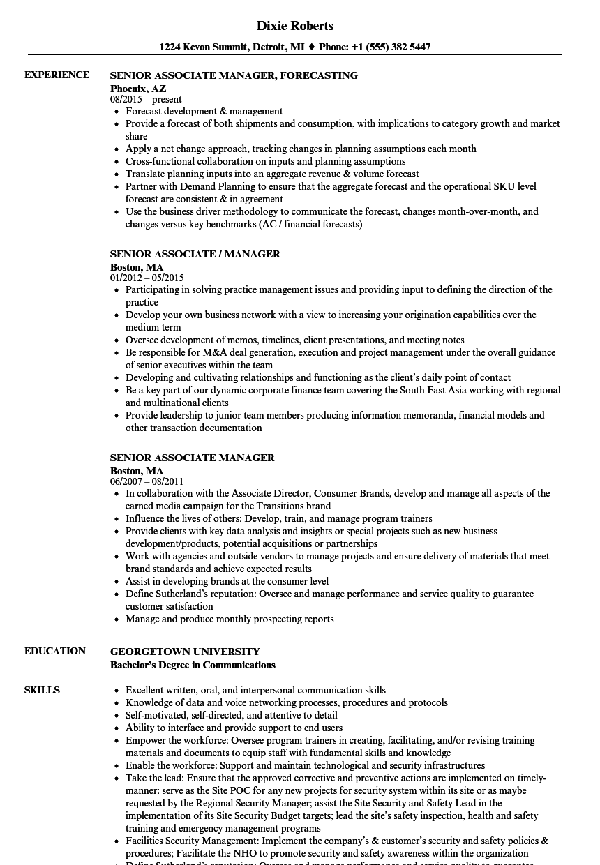 senior associate manager resume samples