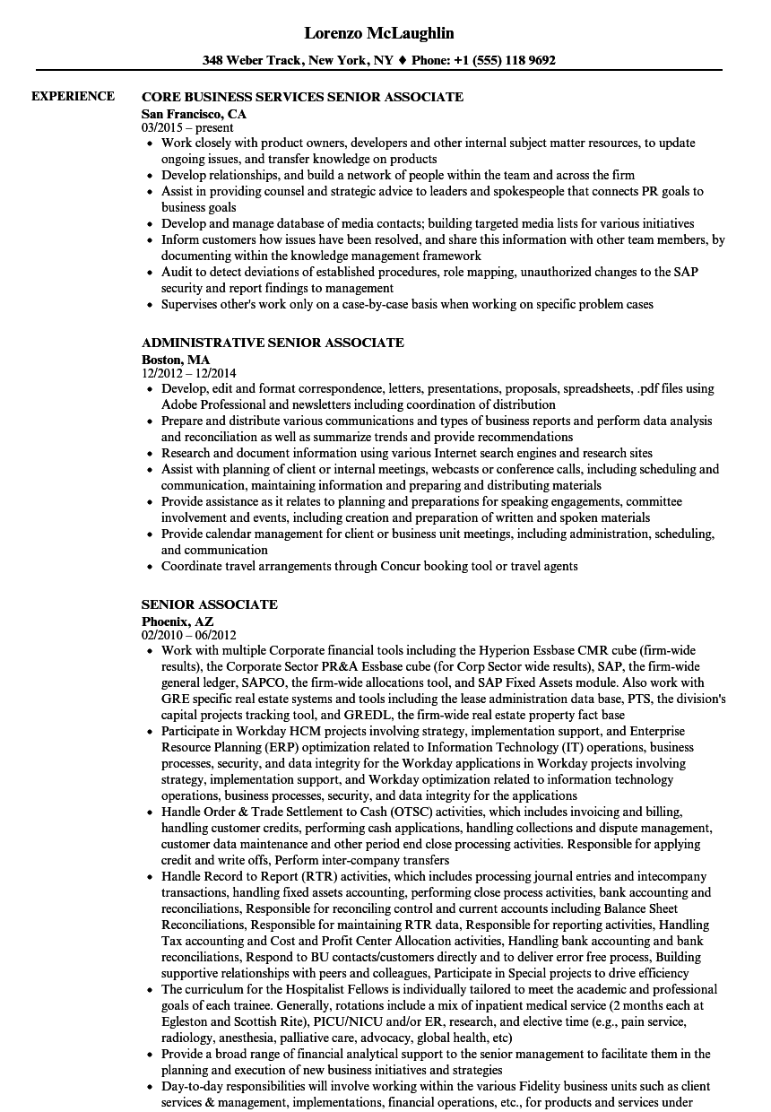 Senior Associate Resume Samples Velvet Jobs