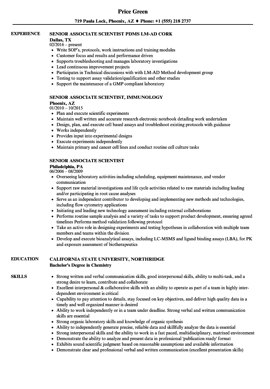 Senior Associate Scientist Resume Samples | Velvet Jobs