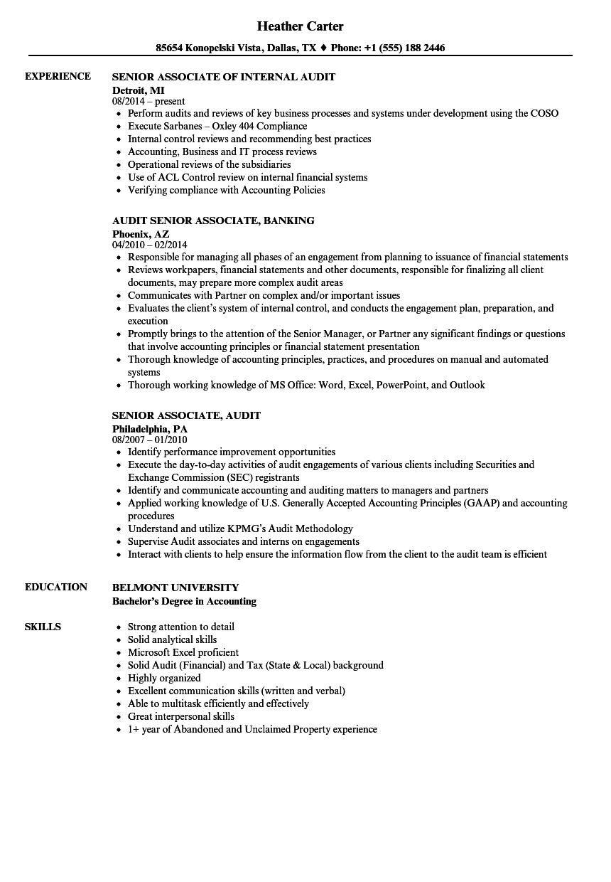 Senior / Audit Associate Resume Samples | Velvet Jobs
