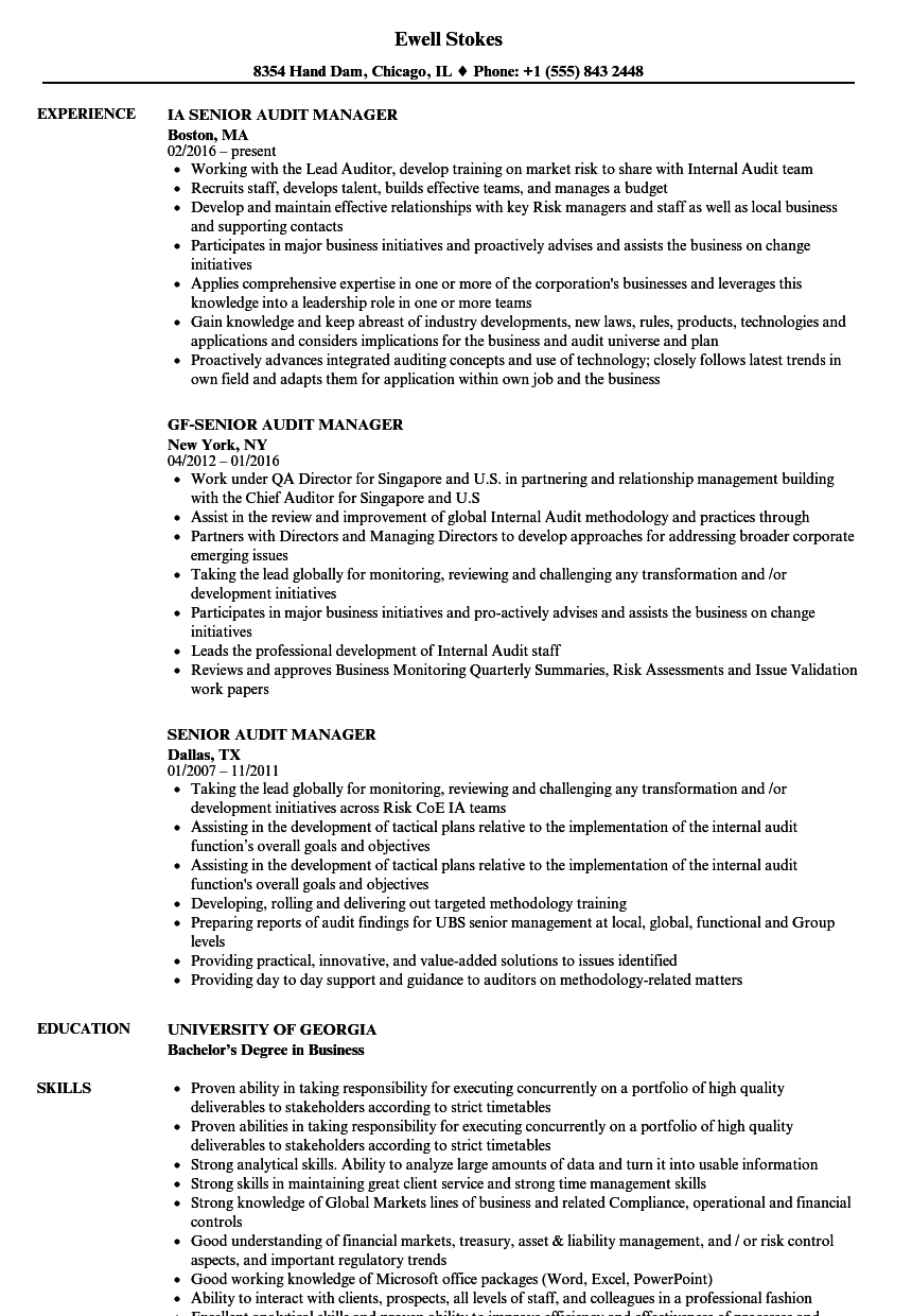 Senior Audit Manager Resume Samples | Velvet Jobs