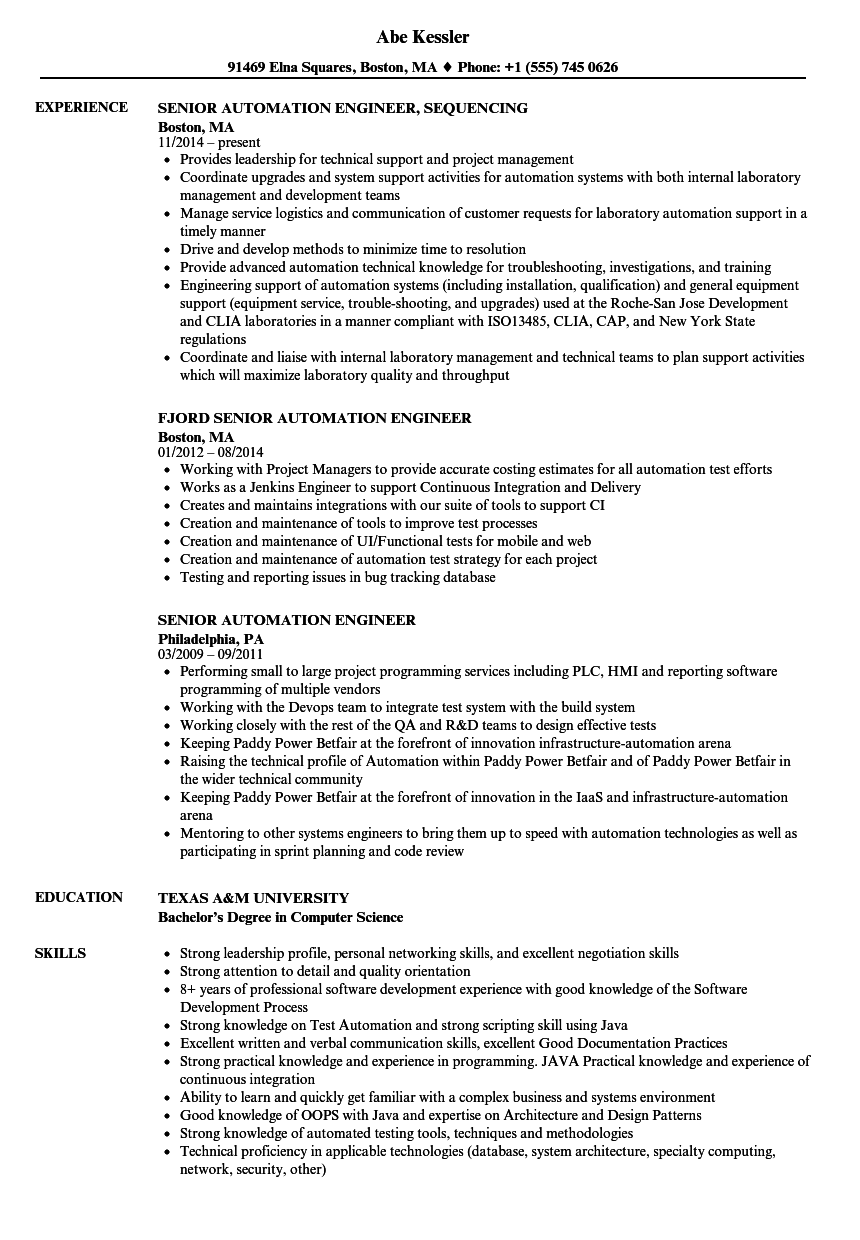 senior automation engineer resume samples