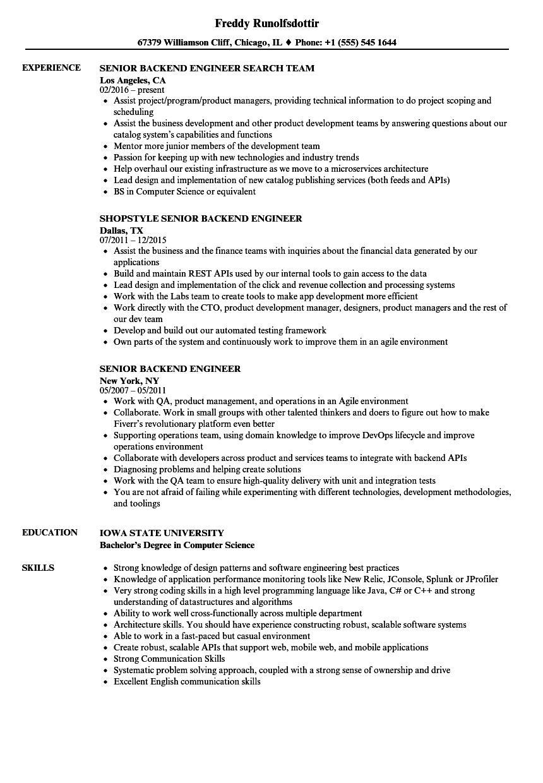senior backend engineer resume samples