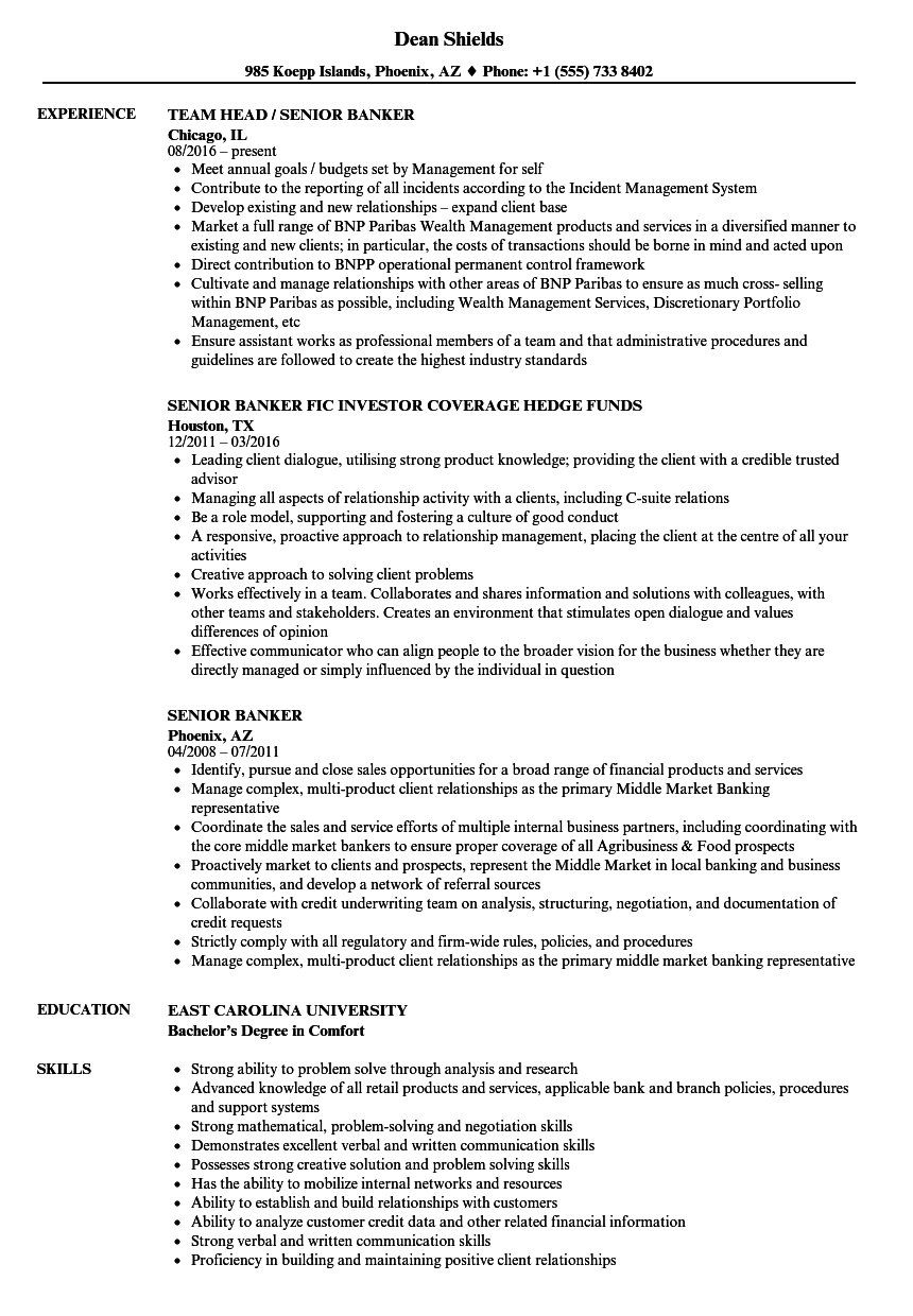 Senior Banker Resume Samples | Velvet Jobs