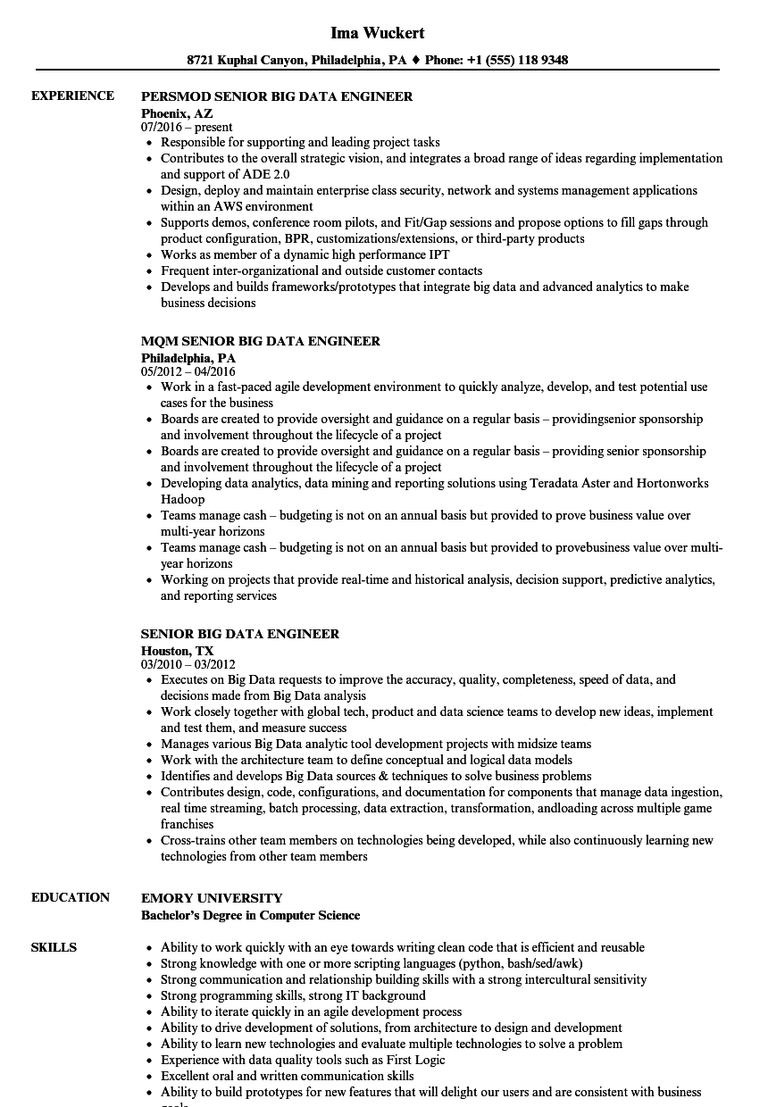 Senior Big Data Engineer Resume Samples | Velvet Jobs