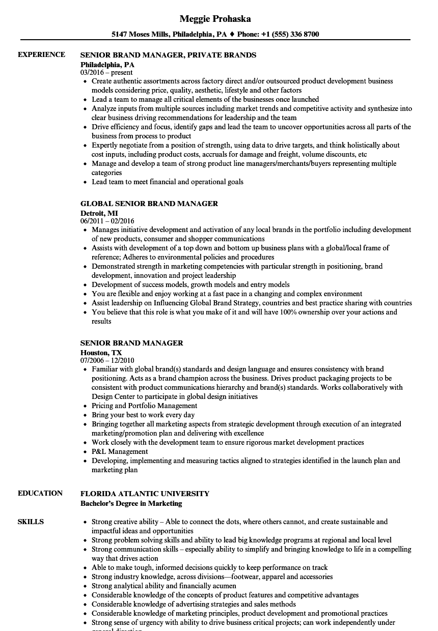 senior brand manager resume samples velvet jobs