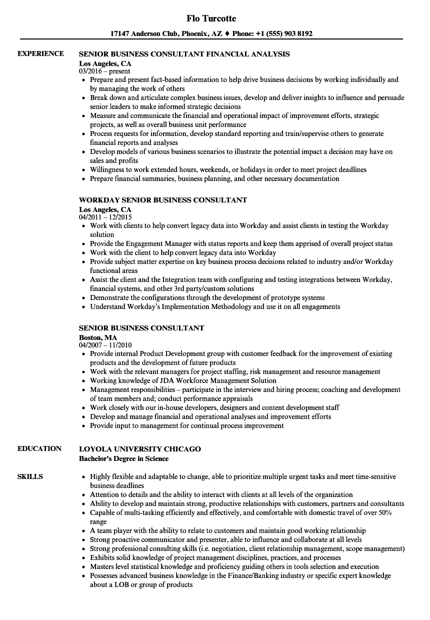 senior business consultant resume samples