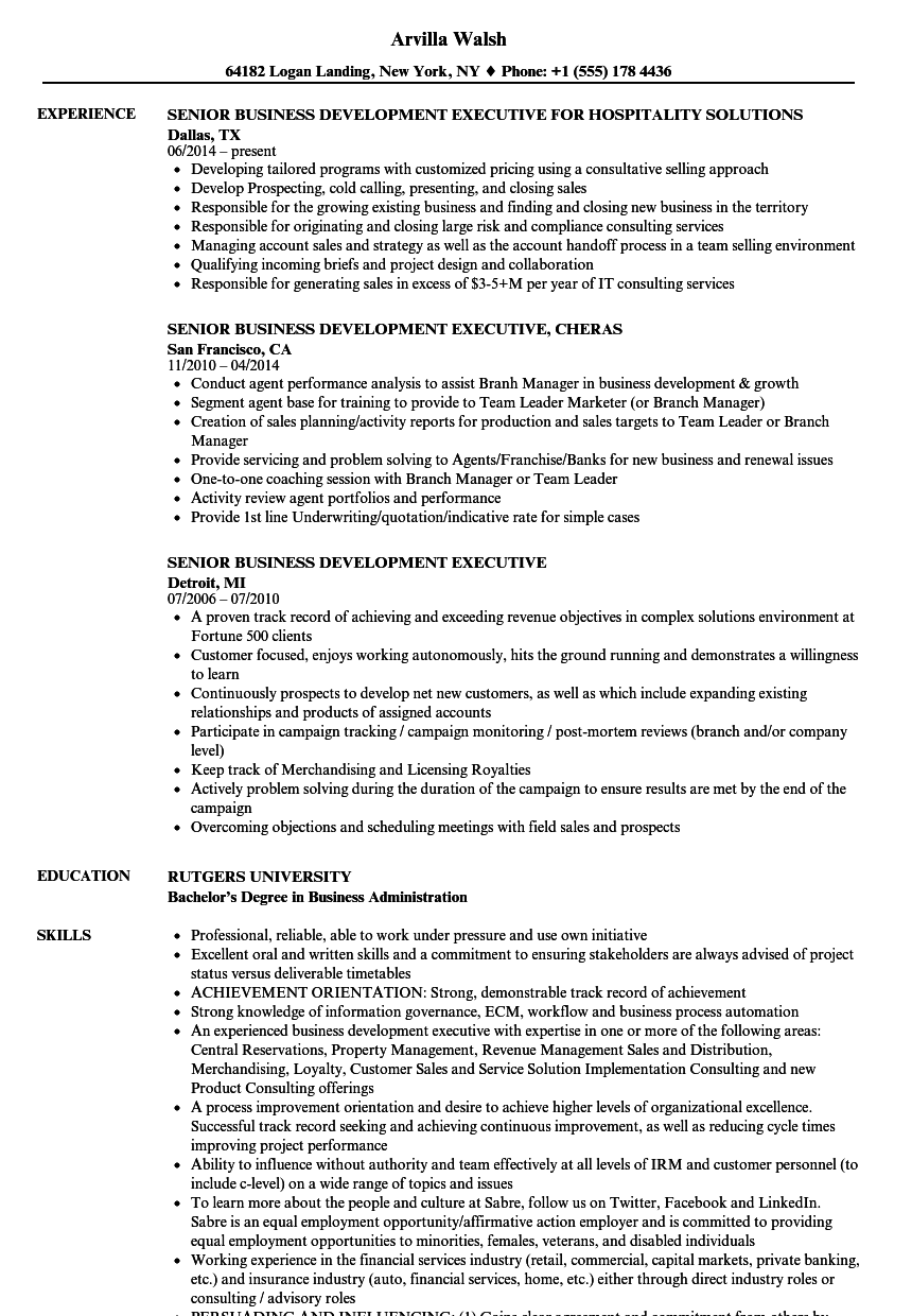 senior business development executive resume samples