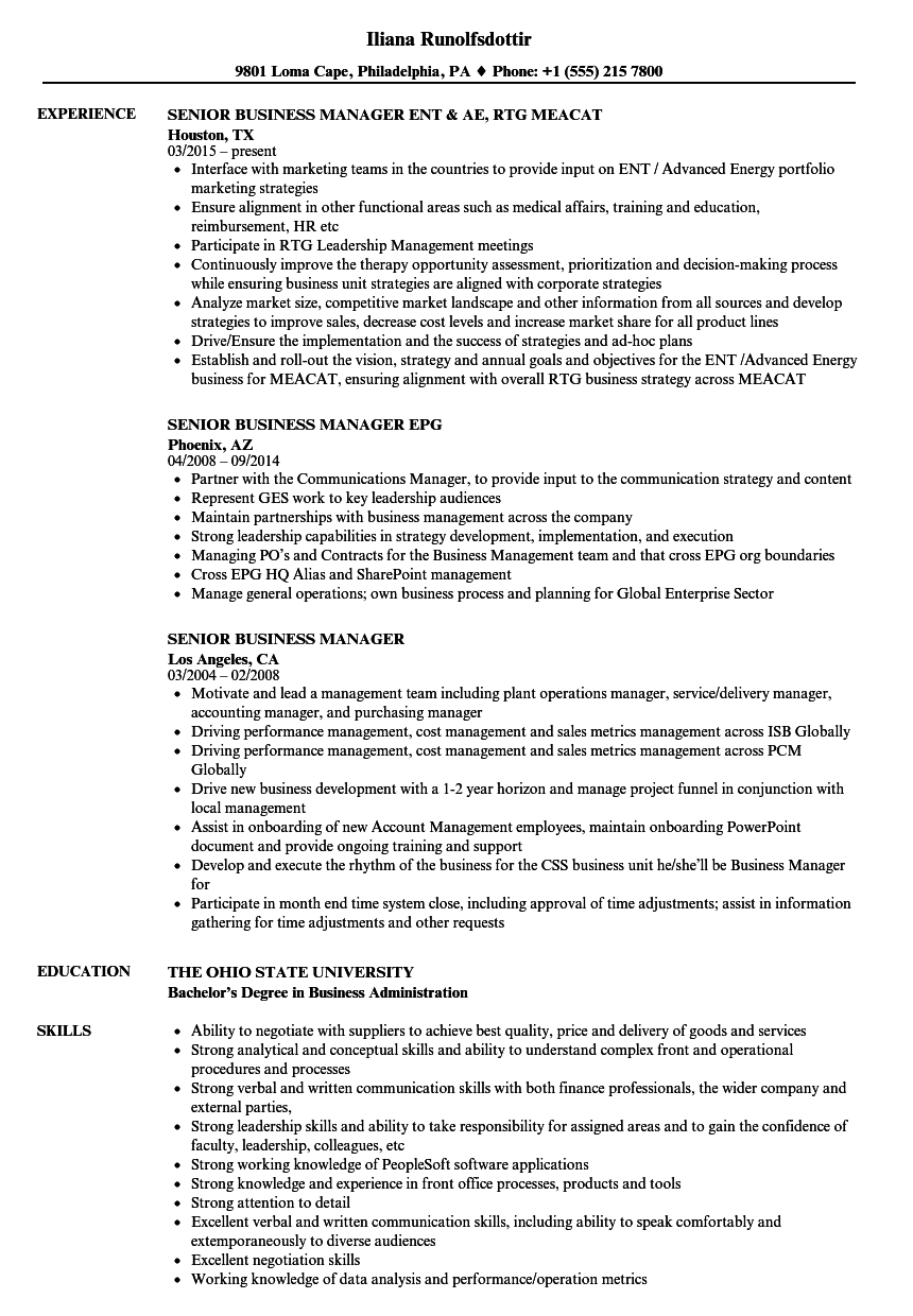 Senior Business Manager Resume Samples | Velvet Jobs