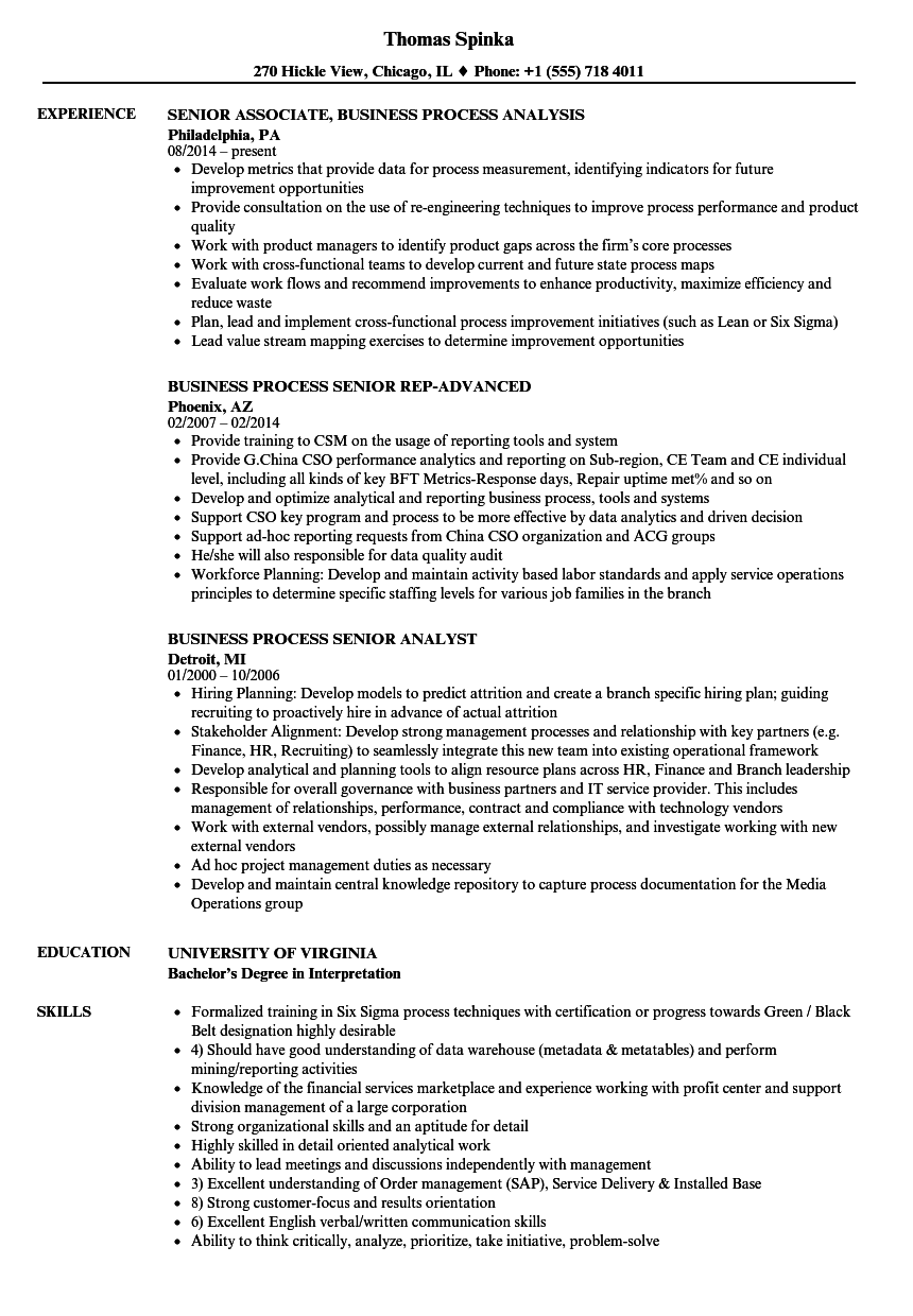 Senior Business Process Resume Samples Velvet Jobs