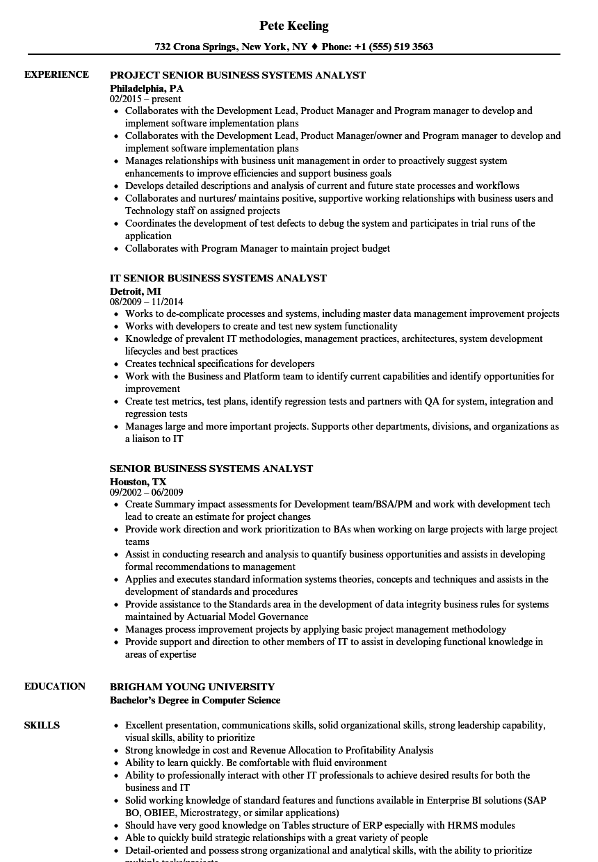 Download Senior Business Systems Analyst Resume Sample As Image File
